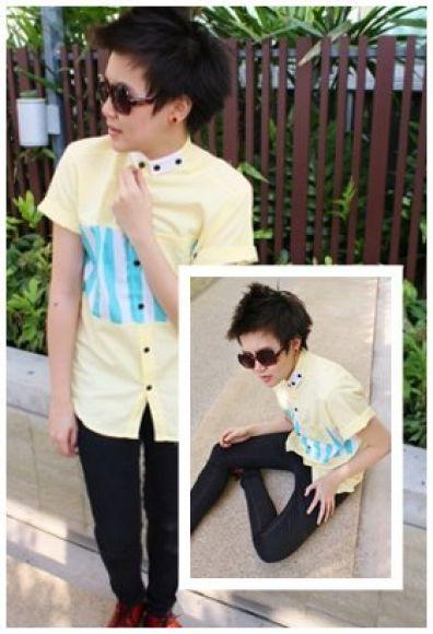 Top-shirt yellow&blue ( free )