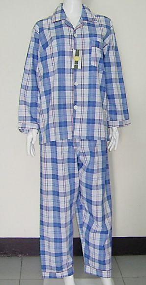 ชุดนอนกางเกงขายาวแขนยาวลายสก๊อตสีฟ้า เกรด เอ ไซส์ XL