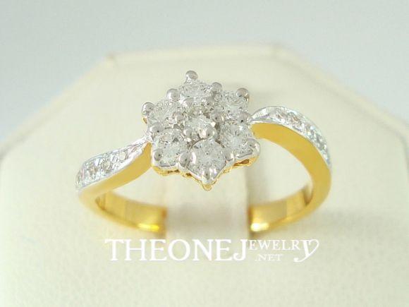 แหวนเพชรเบลเยี่ยมคัท น้ำหนักเพชรรวม 0.41 กะรัต Color 97