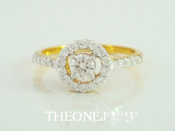 แหวนเพชรเบลเยี่ยมคัท น้ำหนักเพชรรวม 0.46 กะรัต Color 97