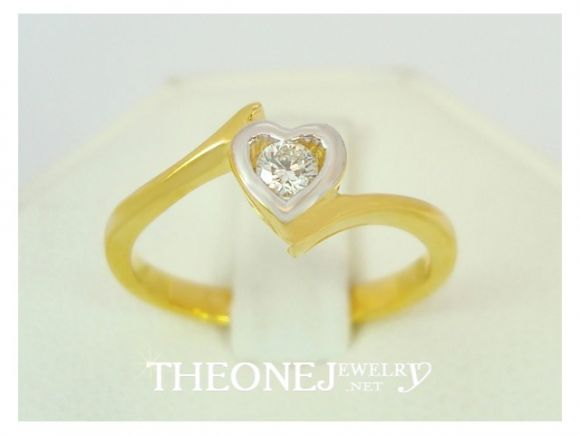 แหวนเพชรเบลเยี่ยมคัท ดีไซน์หัวใจ น้ำหนักเพชร 0.08 กะรัต Color 97