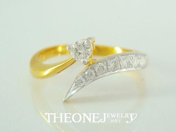 แหวนเพชรเบลเยี่ยมคัท ดีไซน์สวย น้ำหนักเพชรรวม 0.21 กะรัต Color 97