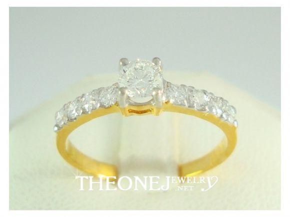 แหวนเพชรเบลเยี่ยมคัท น้ำหนักเพชรรวม 0.45 กะรัต Color 97