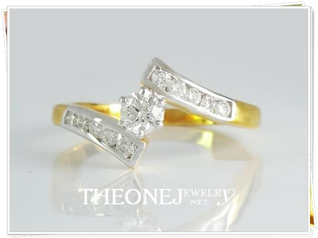 แหวนเพชรเบลเยี่ยมคัท น้ำหนักเพชรรวม 0.24 กะรัต Color 97