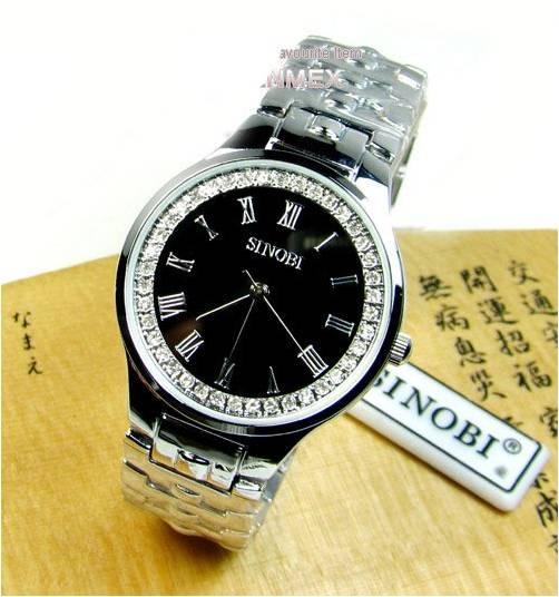 นาฬิกาข้อมือสำหรับผู้ชาย แบรนด์ญี่ปุ่นนำเข้าแท้ SINOBI ประดับคริสตัลแท้รอบหน้าปัด สวยหรูมากค่ะ