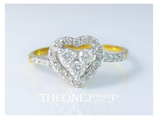 แหวนเพชรเบลเยี่ยมคัท ดีไซน์หัวใจ น้ำหนักเพชรรวม 0.28 กะรัต Color 97