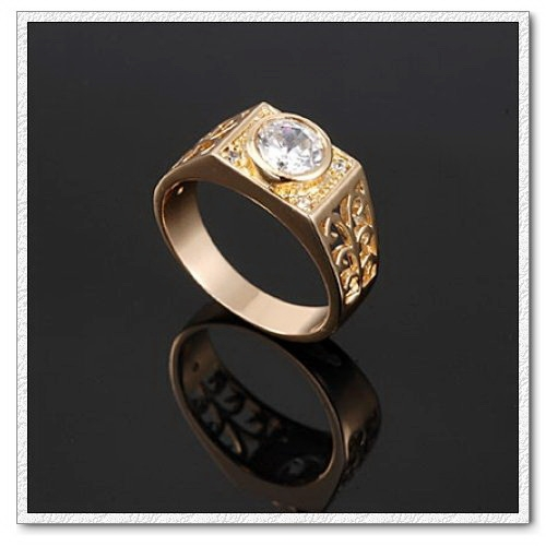 แหวนทองคำ 18k Gold Filled ประดับเพชร CZ ดีไซน์หรูสำหรับคุณผู้ชาย ไซส์ 11 US