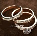 เซ็ตแหวนทองอิตาลี 18KRGP 3 วง ประดับเพชร CZ เกรดพรีเมี่ยม ของจริงสวยหรูมากค่ะ