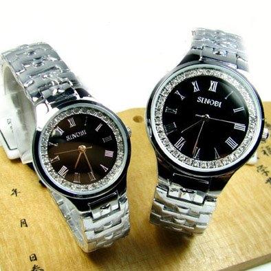 พิเศษขายคู่กัน นาฬิกาแบรนด์ญี่ปุ่นนำเข้า SINOBI ประดับคริสตัลแท้ นาฬิกาคู่รัก สวยหรูมากค่ะ