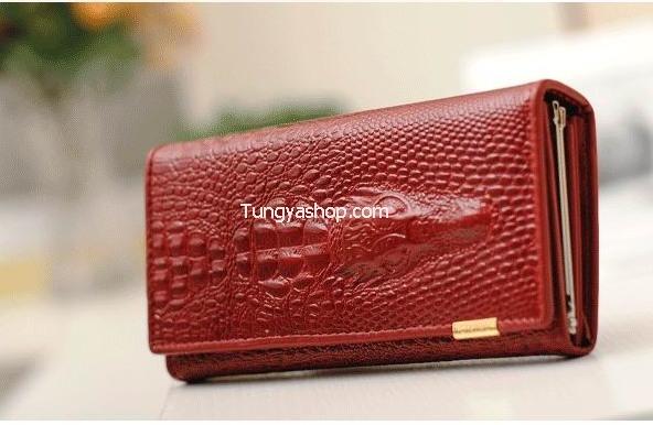 กระเป๋าเงินหนังแบบยาว ลายจระเข้ สีแดงเลือดหมู