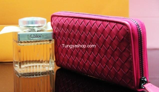 กระเป๋าเงินหนังแบบยาว ลายจักสาน สีชมพู