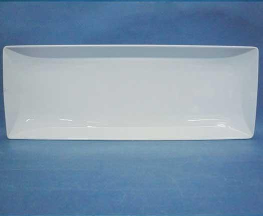 จานเซรามิคสี่เหลี่ยมผืนผ้า,ถาดใส่อาหาร,ขนาดยาว,Long Tray,รุ่นP6913,ขนาด 17.5x46.5cm.เซรามิค,พอร์ซเลน