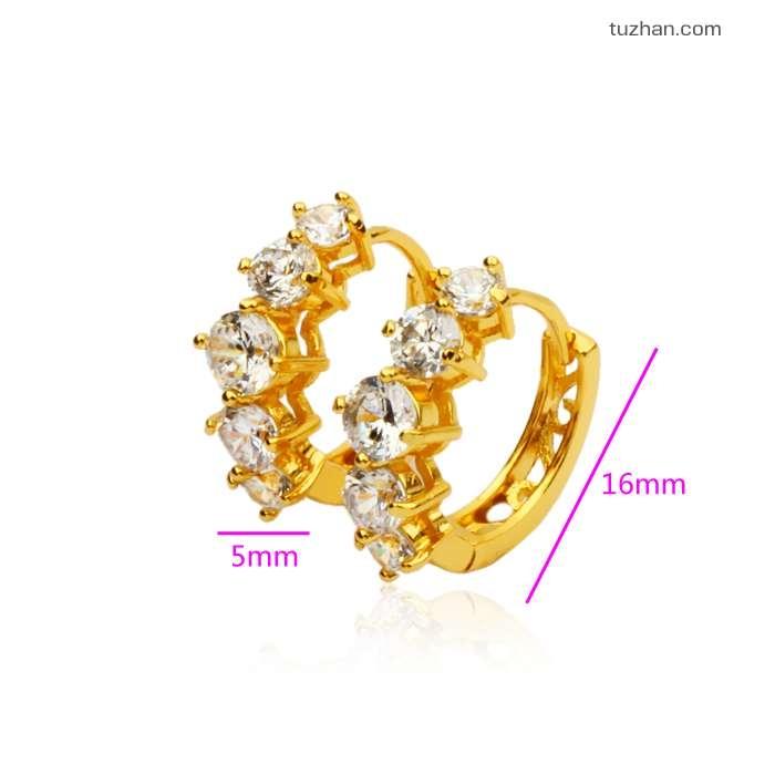 ต่างหูทองคำ 18k gold filled ประดับเพชร CZ เปล่งประกาย สวยมากค่ะ