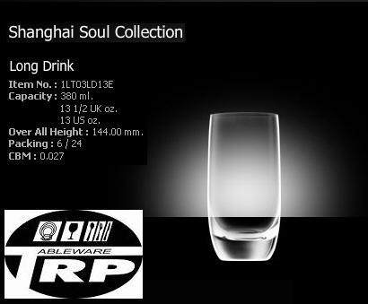 แก้วลองดิ้ง,แก้วร็อค,แก้วทรงกลมยาว,แก้วน้ำ,Long Drink,รุ่น1LT03LD13E,ความจุ13 1/2oz(380ml),Glassware