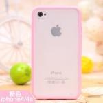 เคสแข็ง ขอบซิลิโคนขุ่น สีชมพู (ไอโฟน4/4s)