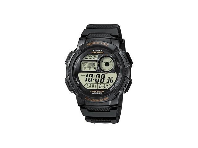 นาฬิกาผู้ชาย Casio AE-1000W-1AVDF 10ปีแบทเตอรี มีแผนที่โลก