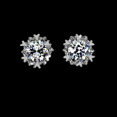 ต่างหูทองคำขาว 18KRGP ประดับเพชรสวิส CZ ดีไซน์หัวใจรอบชิ้น น่ารักมากค่ะ
