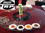 กระจกกลมรางหมุนจานหมุนบนโต๊ะอาหารเรซี่ซูซัน Glass Lazy Susan120cm จานหมุน24นิ้ว