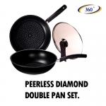 ชุดทำอาหาร กระทะพร้อมมีด Peerless Diamond Double Pan Set Kitchen Prince