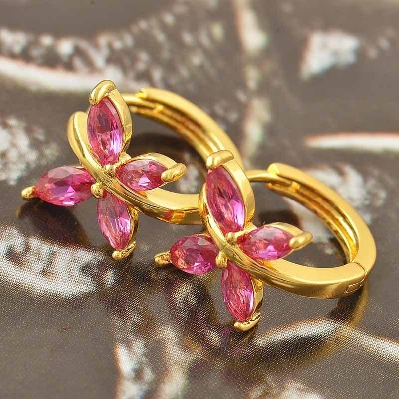 ต่างหูทองคำ 18k gold filled ประดับเพชร CZ สีแดงทับทิมดีไซน์ผีเสื้อ สวยน่ารีกมากๆ ค่ะ