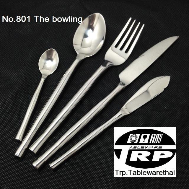 ช้อนหวานส้อมหวาน,Handmade,Dessert Spoon,Dessert Fork,รุ่น 801 The Bowling,สแตนเลส,Stainless 18/8,18/