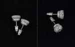 ต่างหูทองคำขาว 18k ประดับเพชร CZ เกรดพรีเมี่ยม ดีไซน์สวยหรู งานละเอียดมากค่ะ