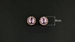 ต่างหูทองอิตาลี 18KRGP ประดับด้วยออสเตรียนคริสตัลสีชมพูอ่อนอมม่วงและสีขาวใสเปล่งประกายรอบต่างหู