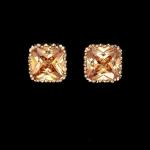 ต่างหูทองอิตาลี 18KRGP ประดับเพชร CZ สีแชมเปญเจียระไนแบบ arrow cut สวยมากค่ะ