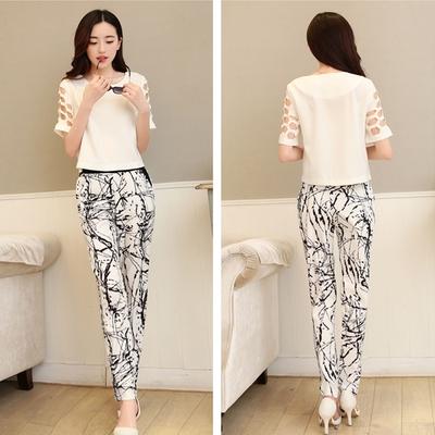 เสื้อชุด แขนสั้น กางเกงขายาวพิมพ์ลาย ขาวดำ สไตร์ยุโรป Xiaou