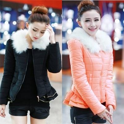 CW5709030 เสื้อโค้ทเกาหลี คอปก แต่งเฟอร์ มีฮูด ซิปหน้า ผ้าผสมขนสัตว์ อบอุ่นมาก แฟชั่นเกาหลี  (พรีออเ