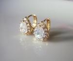 ต่างหูทอง 18k gold filled ประดับเพชร CZ ดีไซน์หยดน้ำ สวยหรู