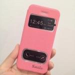 เคสไอโฟน 6 (4.7) เคสฝาพับ smile สีชมพูอ่อน