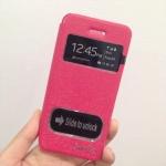 เคสไอโฟน 6 (4.7) เคสฝาพับ smile สีชมพูเข้ม