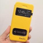 เคสไอโฟน 6 (4.7) เคสฝาพับ smile สีเหลือง