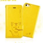 เคสไอโฟน 6 (4.7) เคสฝาพับ Domi cat สีเหลือง