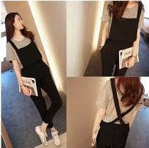 EW5801006 Jumsuit กางเกงขาวยาว สีดำ ทรงหลวม แฟชั่นเกาหลี