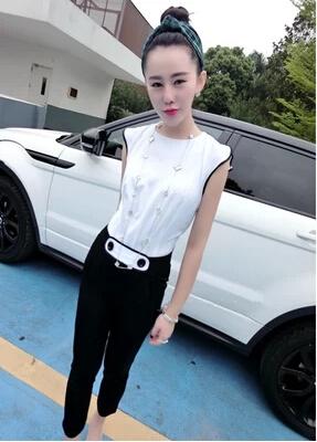 EW5801007 jumsuit กางเกางขายาว เสื้อแขนกุดผ้าชีฟอง แฟชั่นเกาหลี
