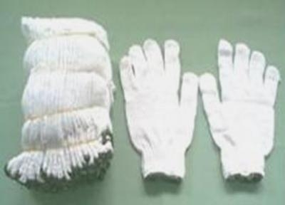 ถุงมือผ้า สีขาว ขอบเขียว