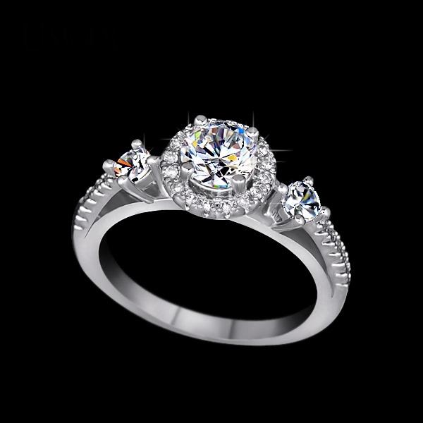 แหวนทองคำขาว 18k white gold plated ประดับเพชร CZ เม็ดหลักขนาด 075 ct. เกรดพรีเมี่ยม ดีไซน์สุดหรู