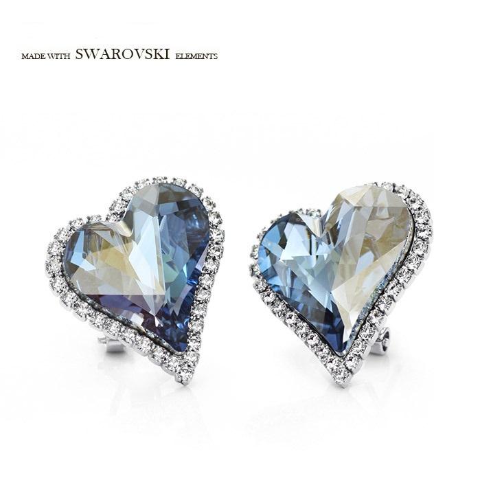 ต่างหู 18k Platinum Plated ประดับ Swarovski คริสตัลแท้ ดีไซน์หัวใจ สวยหรูมากค่ะ