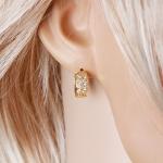 ต่างหูทอง 18k gold filled ประดับเพชร CZ แบบสองแถวเรียง ดีไซน์เรียบหรู