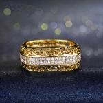 แหวนทอง 18k gold plated ประดับเพชร CZ ดีไซน์สุดหรู ใส่ได้ทั้งผู้หญิงและผู้ชายค่ะ