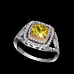 แหวนทองคำขาว 18k white gold plated ประดับเพชร CZ สีเหลืองบุษราคัม ดีไซน์สุดหรู
