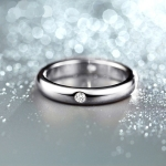 แหวนทองคำขาว 18k white gold plated ประดับเพชร CZ ดีไซน์สวยคลาสสิค