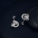 ต่างหูทองคำขาว 18k white gold plated ประดับเพชร CZ ดีไซน์เก๋ สวยน่ารักมากค่ะ