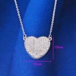 สร้อยคอทองคำขาว 18k white gold filled พร้อมจี้หัวใจในตัวประดับด้วยเพชร CZ ดีไซน์เก๋ น่ารักมากค่ะ
