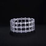แหวนทองคำขาว 18k white gold plated ประดับเพชร CZ เกรดพรีเมี่ยมเปล่งประกาย ดีไซน์สวยหรู