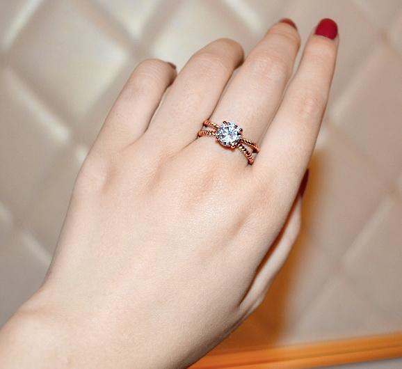 แหวนทองพิ้งค์โกล์ว 18k Pink Gold Plated ประดับเพชร CZ เปล่งประกาย ไซส์ 6.5