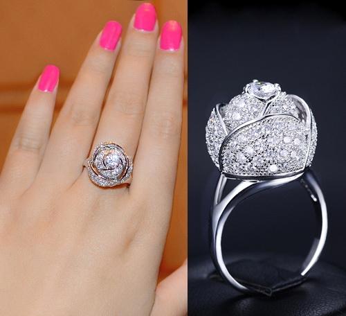 แหวนทองคำขาว 18k white gold plated ประดับเพชร CZ คุณภาพ Top Grade ดีไซน์สุดหรู