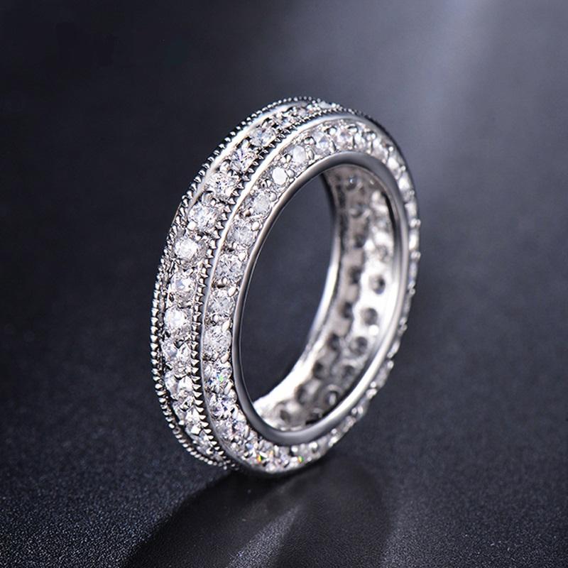 แหวนทองคำขาว 18k white gold plated ประดับเพชร CZ เกรดพรีเมี่ยม ดีไซน์สุดหรู